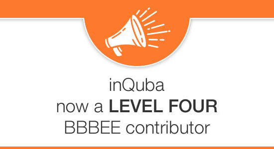 inQuba now a LEVEL FOUR BBBEE contributor